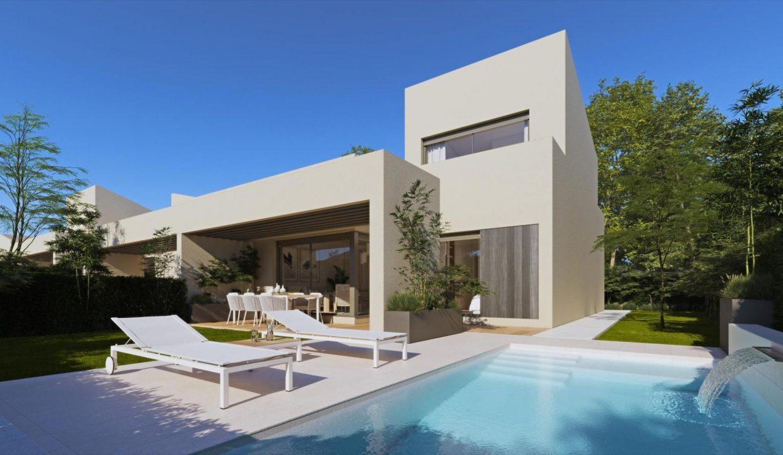 fachada y piscina duplex adosado